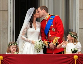 Royal Wedding Couple Kiss