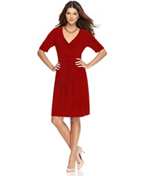 NY Collection Red Wrap Dress Macys