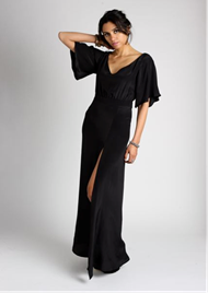 MarchtoJune_NICOLE Black Silk Gown with Slit 348