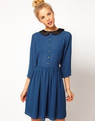 Granny_LS Dress Velvet Collar_Blue_69.98_Asos