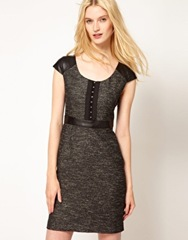 Leather_Kookai Tweed Leather Dress_Black_205.23_Asos