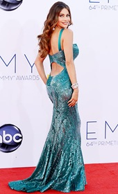 2f873953 Modern Family star, Sofia Vergara, showed off her best assets in a dazzling  Zuhair Murad gown that fit her like a glove! Topping off her emerald  ensemble ...