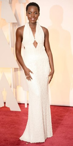Lupita Nyong'o in custom Calvin Klein Collection and Chopard jewelry